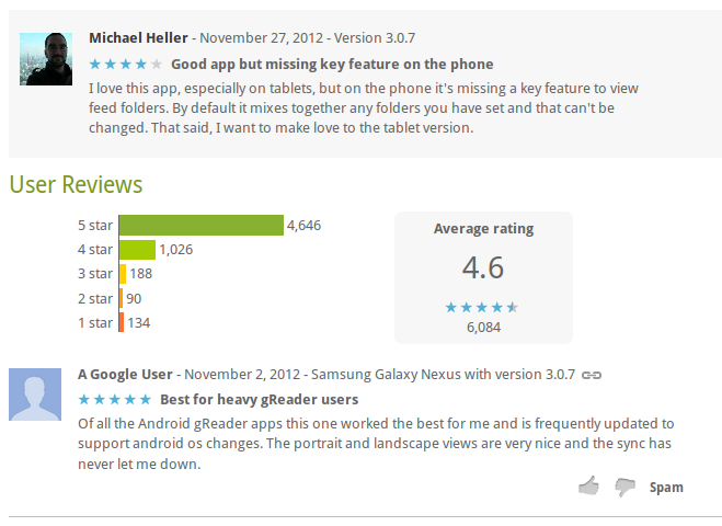 google play reviews not showing